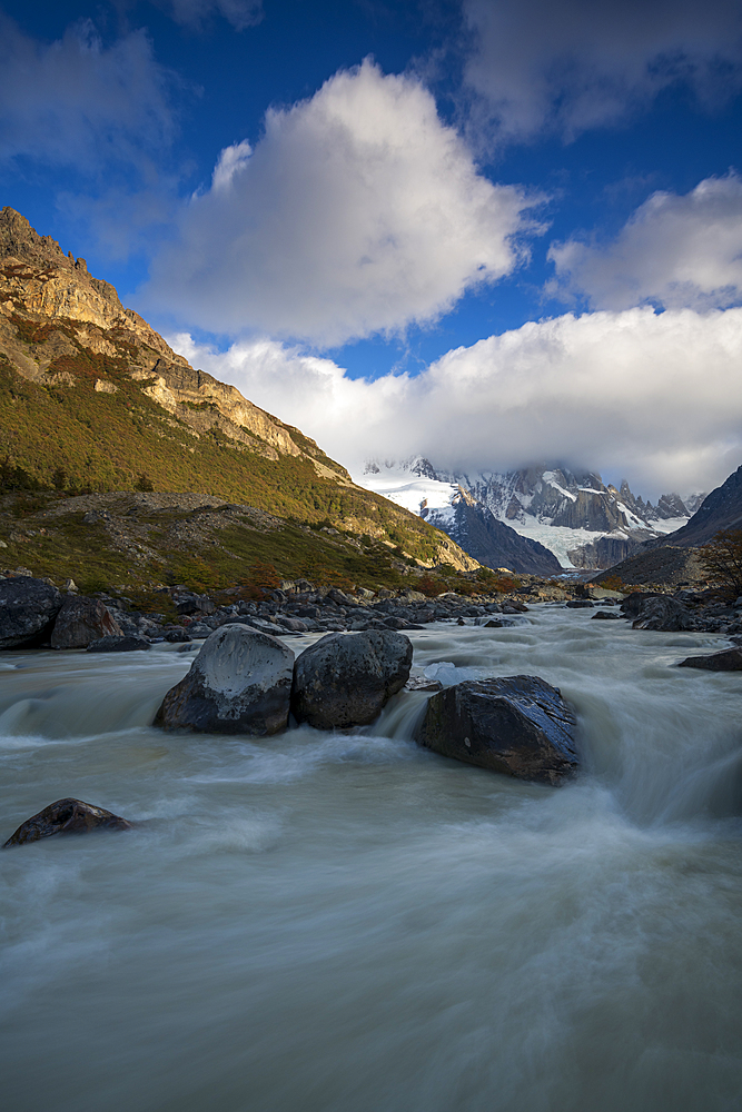 Flowing Rio Fitz Roy River, Mt Fitz Roy and Cerro Torre, El Chalten, Patagonia, Argentina