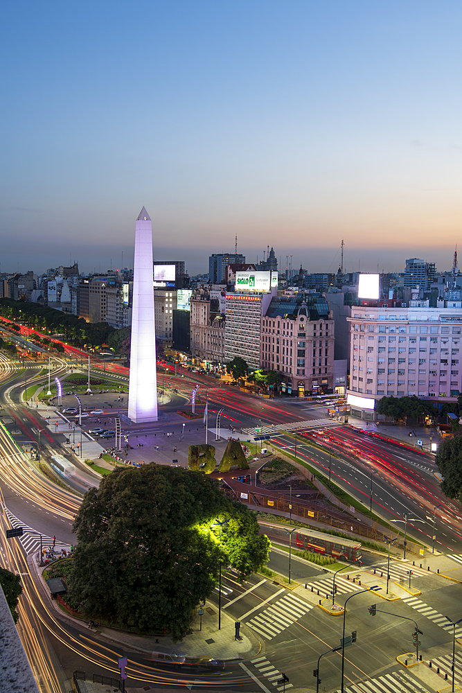 Light trails on 9 de Julio Avenue, Buenos Aires, Argentina, South America