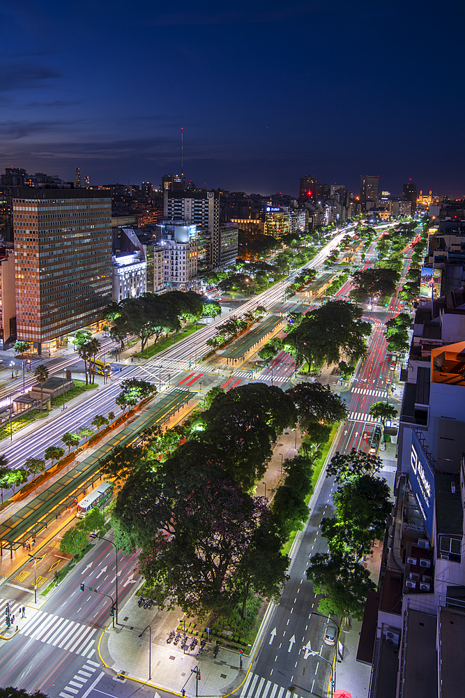 Night scene of 9 de Julio Avenue, Buenos Aires, Argentina, South America