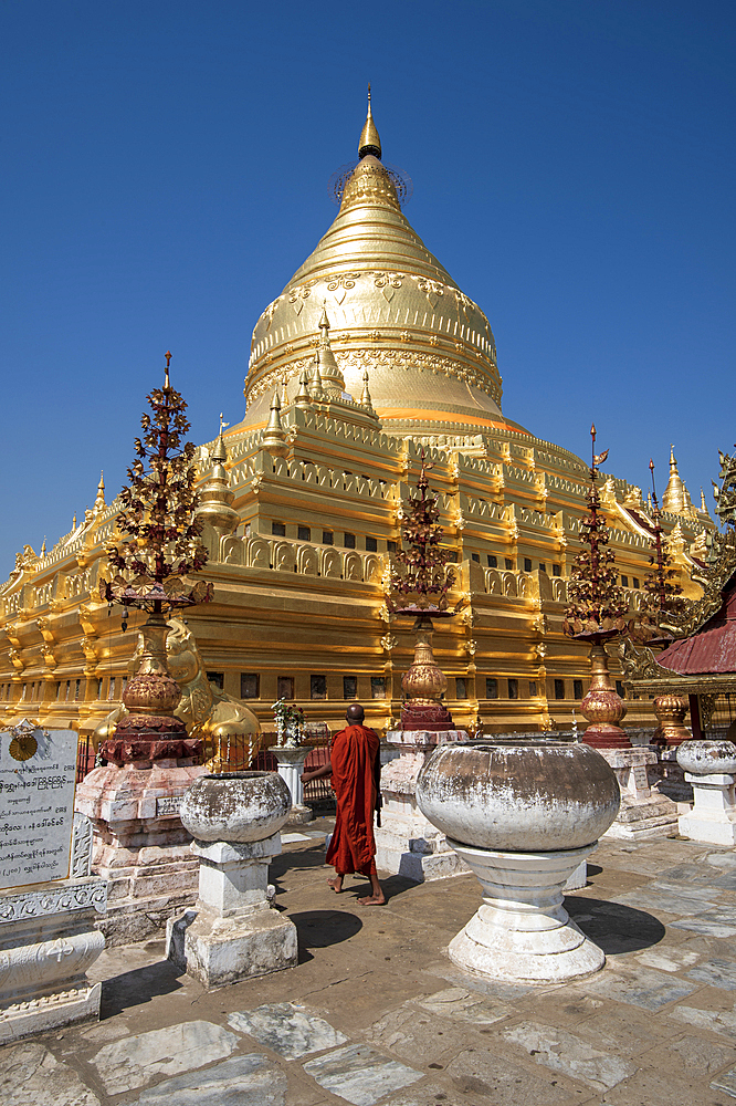 The great Stupa in the Shwezigon Pagoda in Bagan in Myanmar (Burma), Asia