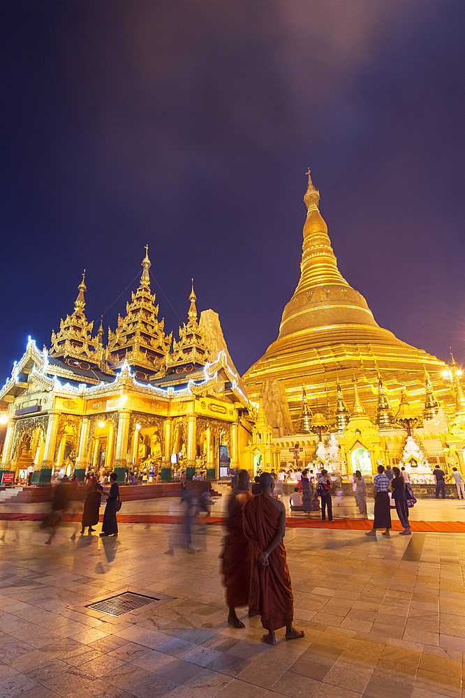 The Shwedagon Pagoda at night, Yangon (Rangoon), Myanmar (Burma), Asia