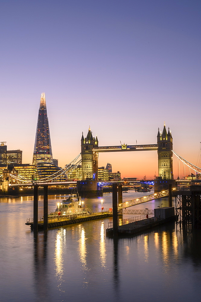 The Shard and Tower Bridge at sunset on the River Thames, London