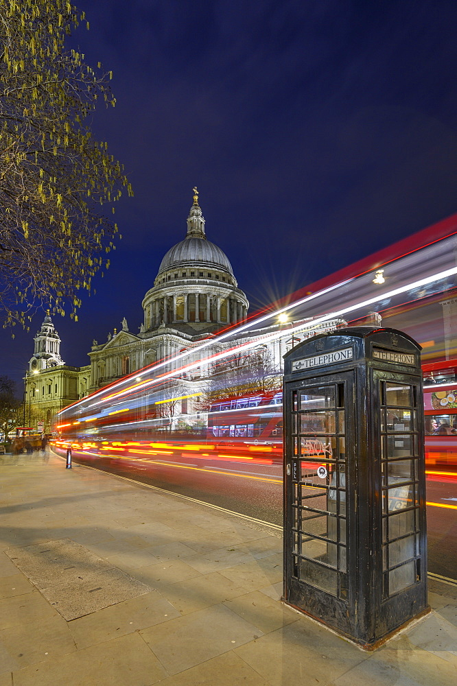 St. Paul's Cathedral at dusk with light trails, London, England, United Kingdom, Europe