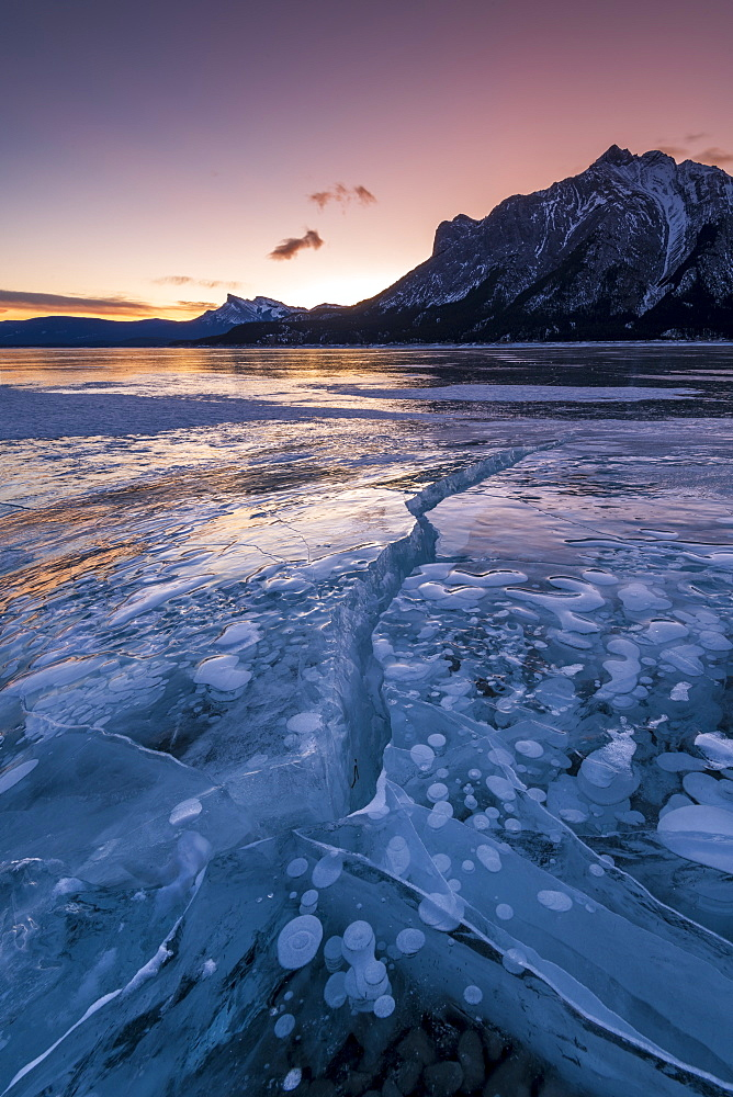 Ice fissure at Lake Abraham, Kootenay Plains, Alberta, Canadian Rockies, Canada, North America