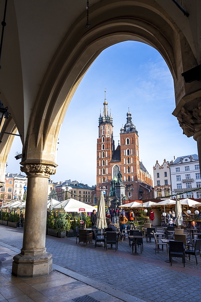 Saint Mary's Basilica in the Market Square, UNESCO World Heritage Site, Krakow, Poland.