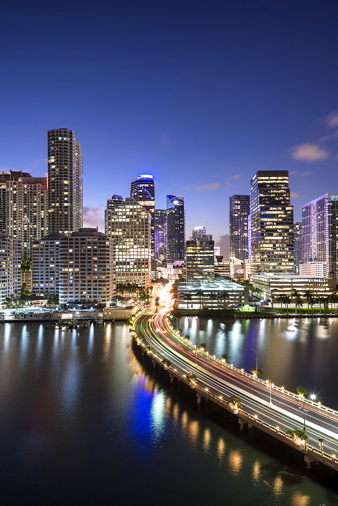 Brickell Key and Downtown Miami skyline at night, Florida, United States of America, North America