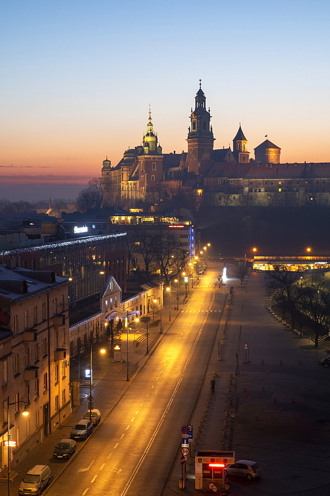 Wawel Castle at sunrise, UNESCO World Heritage Site, Krakow, Poland, Europe
