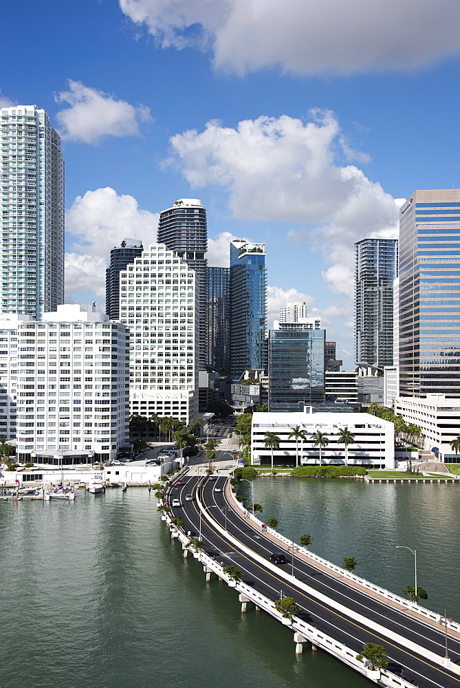 Bridge leading to Brickell Key and Downtown Miami skyline, Florida, United States of America, North America