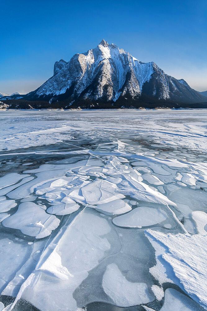 Abraham Lake frozen with Mount Michener, Alberta, Canada, North America - 1306-722