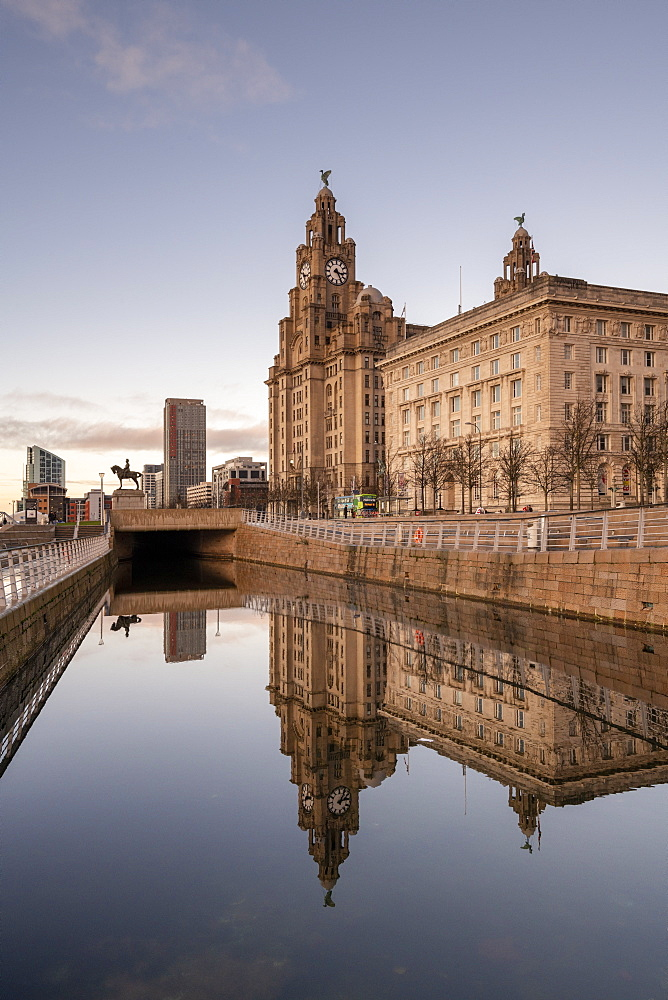Reflections of The Pier Head on Liverpool Waterfront, UNESCO World Heritage Site, Liverpool, Merseyside, England, United Kingdom, Europe - 1306-773