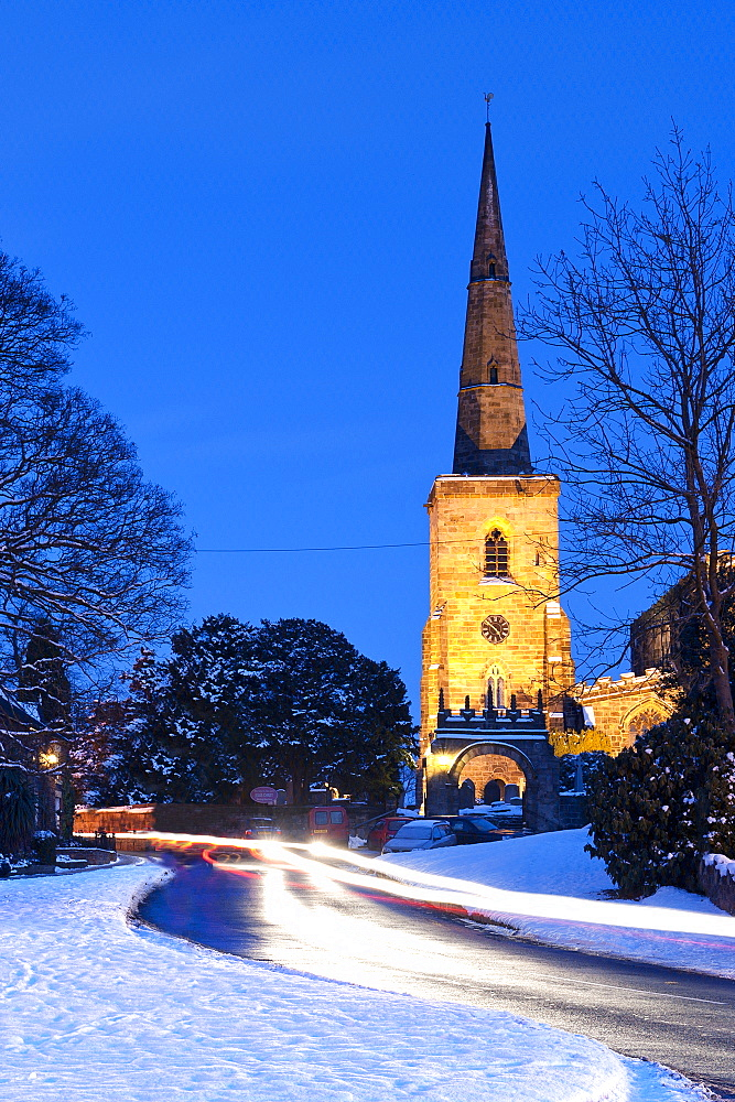St Mary's Church, Astbury near Congleton in winter at night, Cheshire, England, United Kingdom, Europe