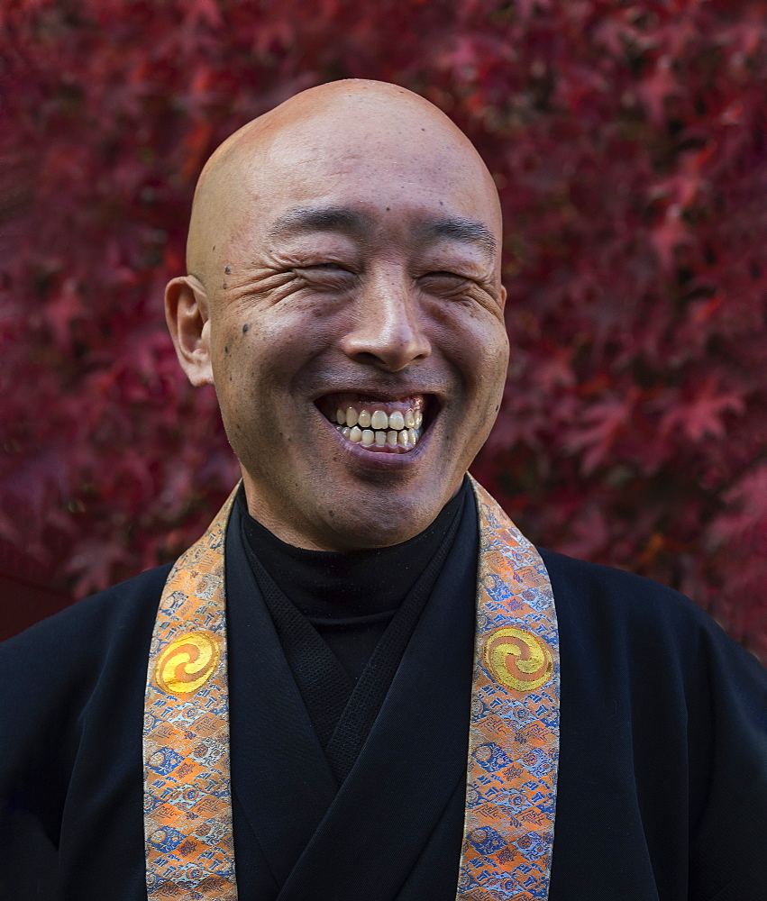 Smiling Buddhist Monk, Kyoto, Japan, Asia