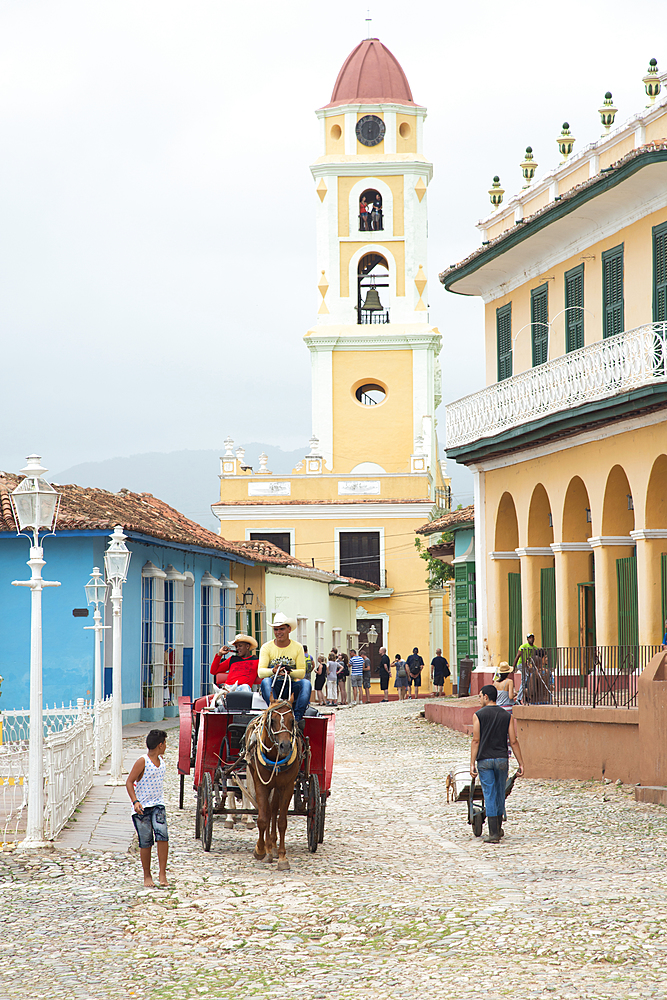 Street scene featuring San Francisco de Asis in Trinidad, Trinidad, UNESCO World Heritage Site, Cuba, West Indies, Caribbean, Central America