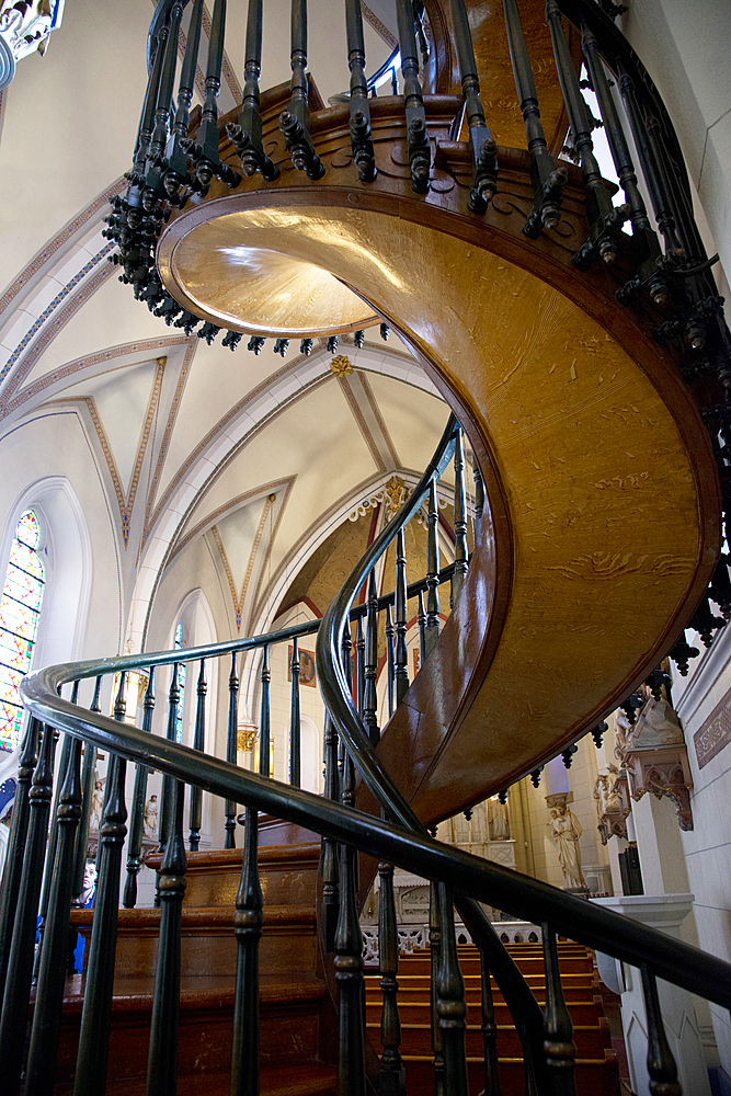 Loretto Chapel spiral staircase in Santa Fe, New Mexico, United States of America, North America