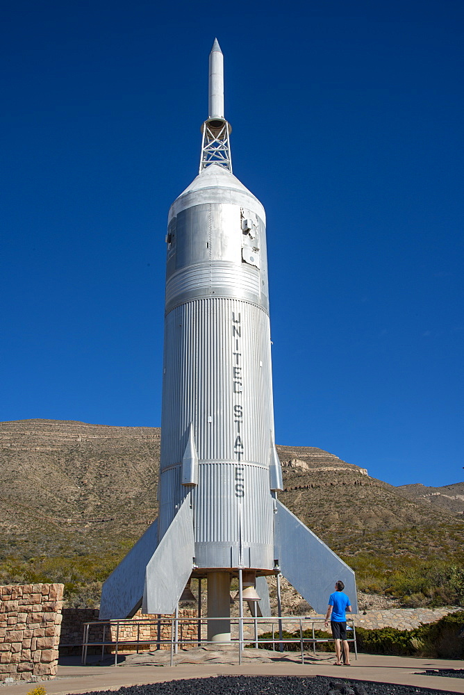 Outdoor exhibit with rocket 'Little Joe 2' at New Mexico Museum of Space History