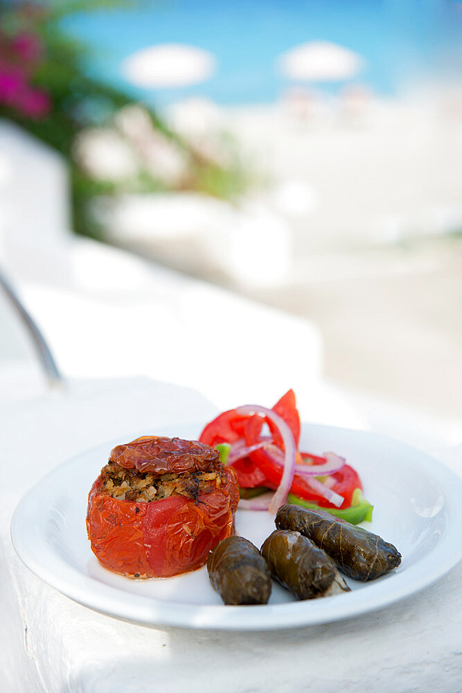 Greek Food, stuffed peppers and dolmades, Ialyssos, Rhodes, Dodecanese, Greek Islands, Greece, Europe