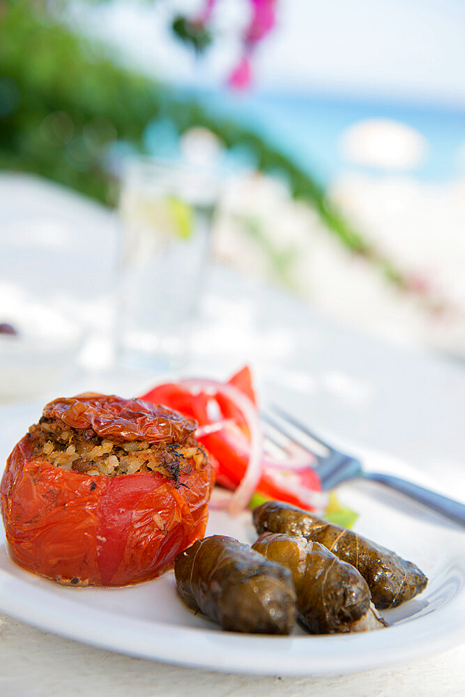 Greek Food, stuffed peppers and dolmades, Ialyssos, Rhodes, Dodecanese, Greek Islands, Greece, Europe - 1331-32