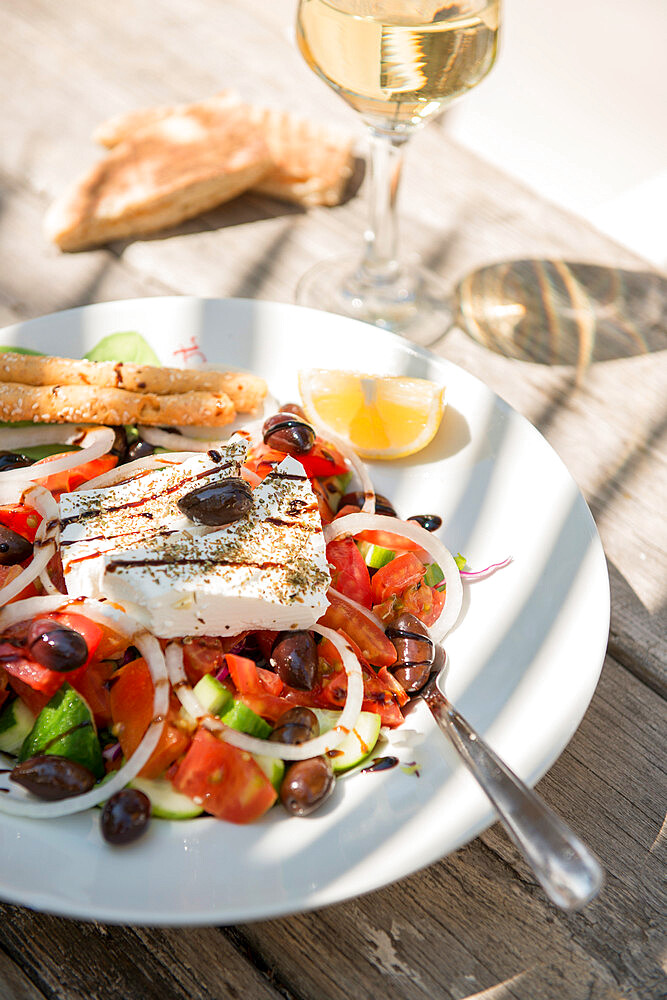 Cypriot Village Salad served with pitta bread and white wine, Cyprus, Mediterranean, Europe