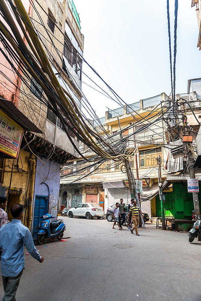 Street wiring, Old Delhi, India, Asia - 1341-23