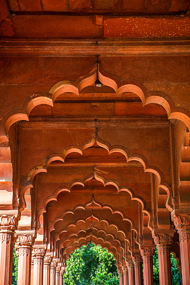 Diwan-i-Aam audience hall, Red Fort, UNESCO World Heritage Site, Delhi, India, Asia - 1341-31
