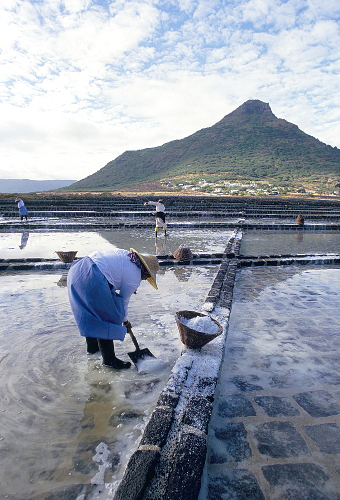 Salt workers, Mauritius, Indian Ocean, Africa