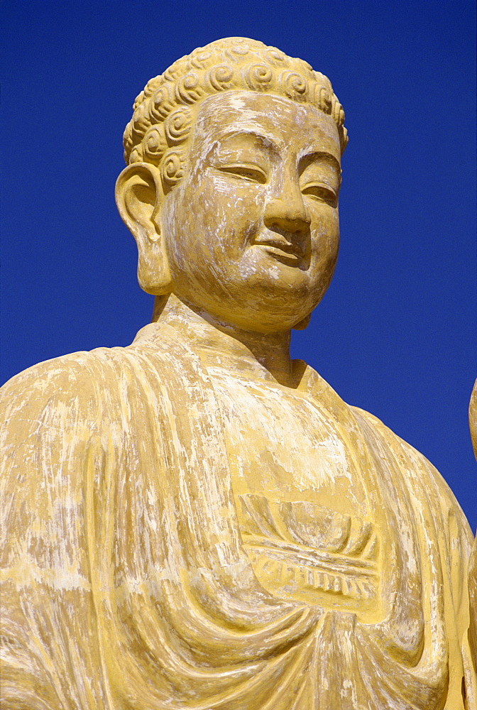 Close-up of the statue of the Buddha at Nhu Lai Temple, Vung Tau Peninsula, Vietnam, Indochina, Southeast Asia, Asia