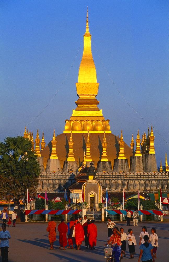 Golden Stupa at Pha That Luang Temple, Vientiane, Laos - 142-5227