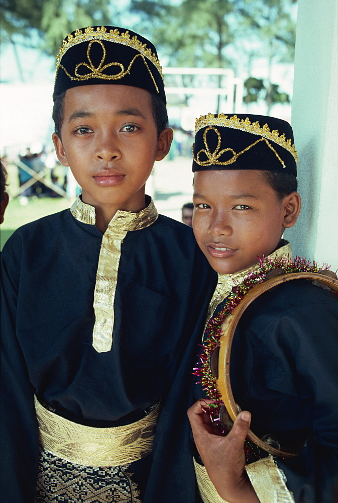 Boys in traditional costume, east coast, Malaysia, Southeast Asia, Asia - 142-5636