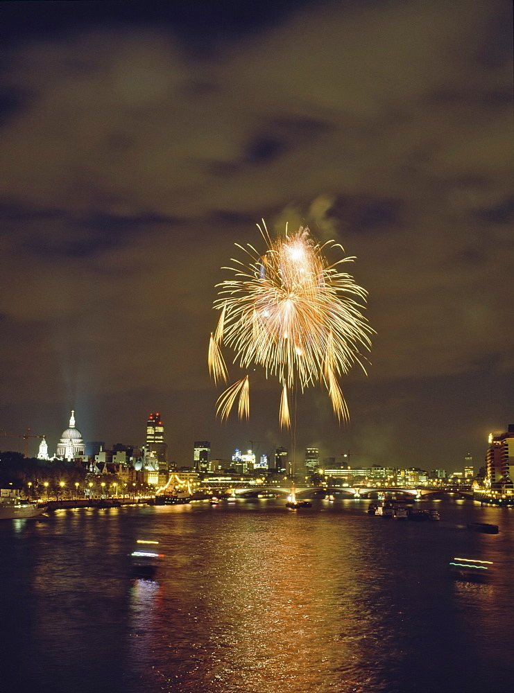 Firework display over the River Thames after the Lord Mayor's Parade, London, England, United Kingdom, Europe - 16-3216