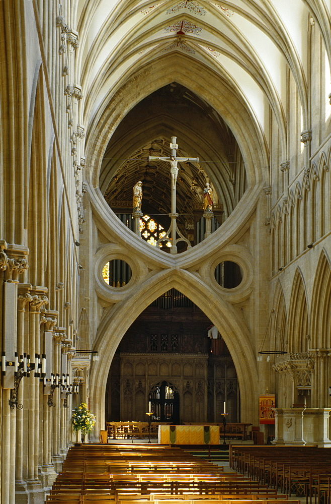 Scissor arch in Wells Cathedral, Somerset, England, United Kingdom, Europe - 16-3217