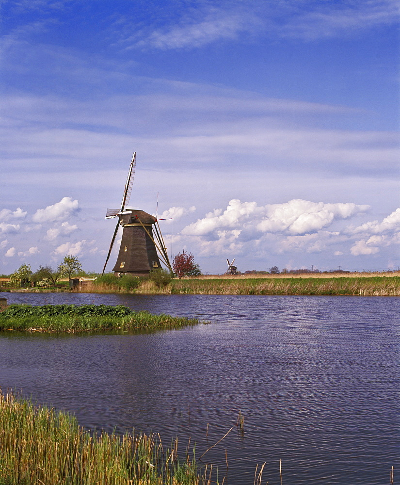 Windmill at Kinderdijk, UNESCO World Heritage Site, near Rotterdam, Netherlands, Europe - 16-3294