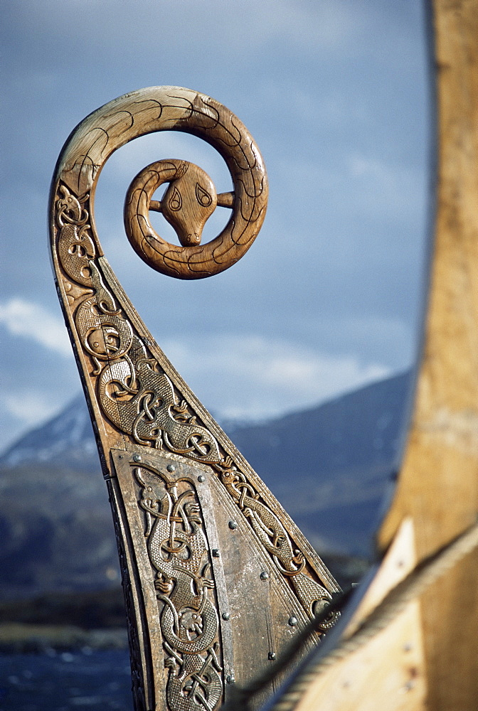 Detail of the replica of a 9th century AD Viking ship, Oseberg, Norway, Scandinavia, Europe