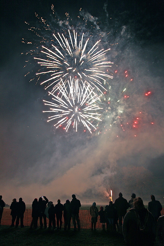 Double white burst at the Widecombe-in-the-Moor, Dartmoor, firework display, Devon, England, United Kingdom, Europe