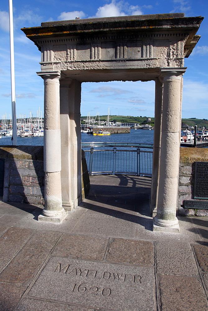 Mayflower steps, Barbican, Plymouth, Devon, England, United Kingdom, Europe - 166-5459