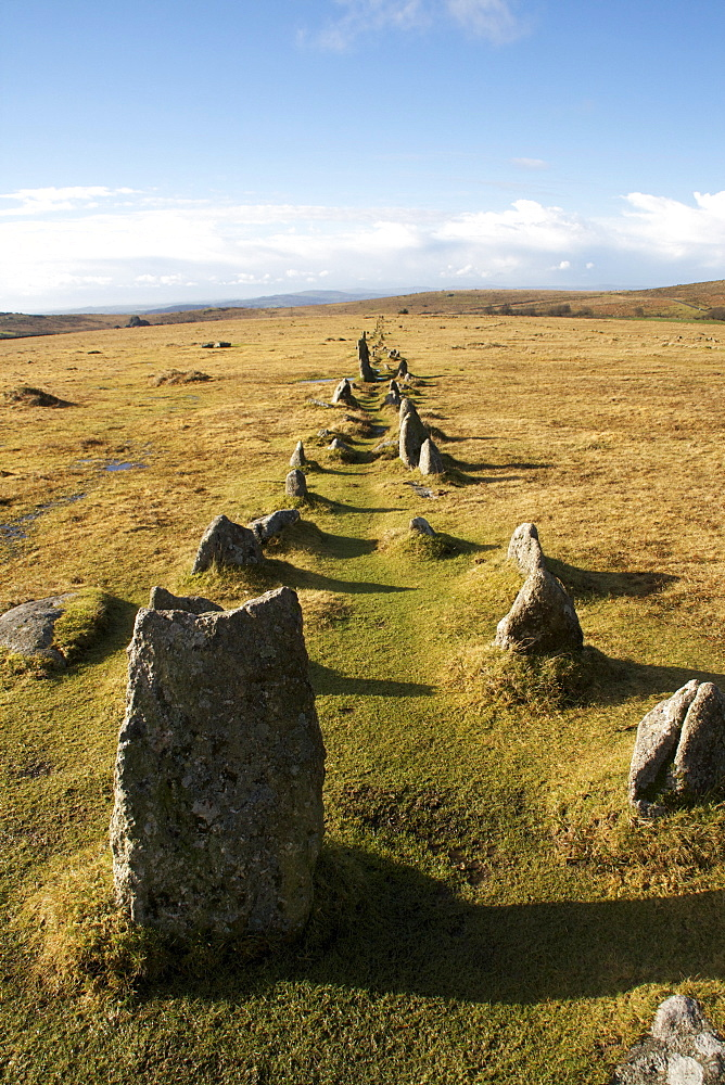 Prehistoric ceremonial lines of stones, Merrivale, Dartmoor National Park, Devon, England, United Kingdom, Europe - 166-5513
