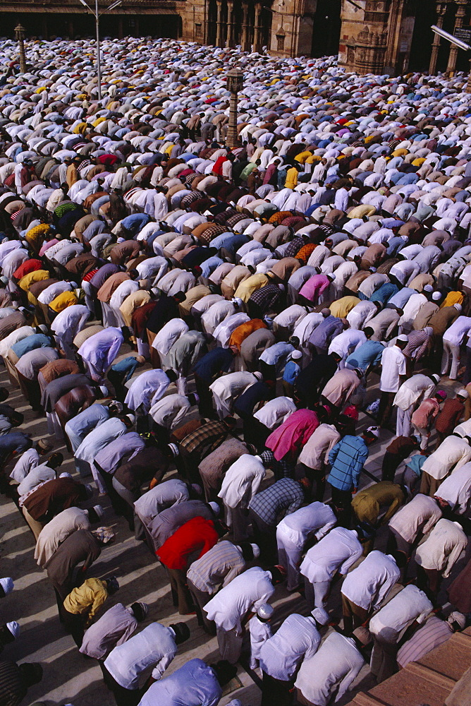 Muslims gather for prayers at the Jama Masjid (Friday Mosque), Ahmedabad, Gujarat State, India