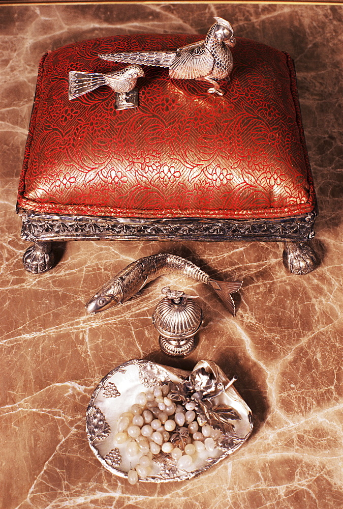 Antique silverware on marble top table, Lutyens style bungalow, New Delhi, India, Asia