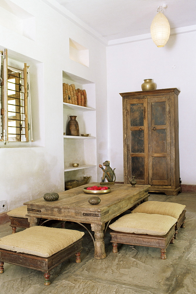 Zen ambiance instilled into an old farm house converted into residential home, Amber, near Jaipur, Rajasthan state, India, Asia