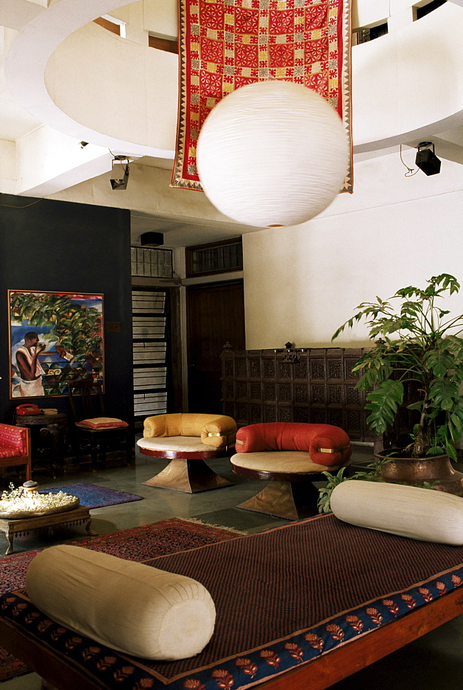 Interior of 1970s concrete structured home, the first of its type in India, by architect Bernard Cohen, Ahmedabad, Gujarat state, India, Asia