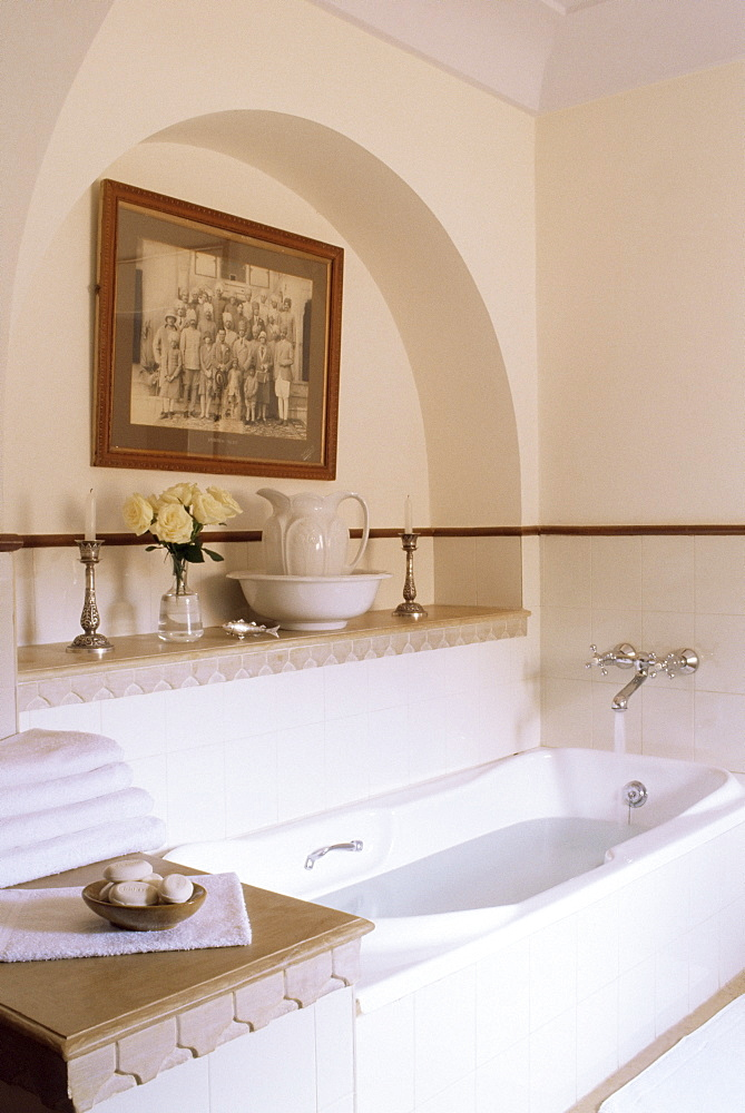 Bathroom detail in one of the en-suite guest bedrooms, Samode Palace Hotel, Samode, Rajasthan state, India, Asia