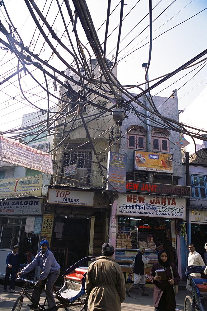 Street in Old Delhi, close to the Jama Masjid mosque, Delhi, India, Asia