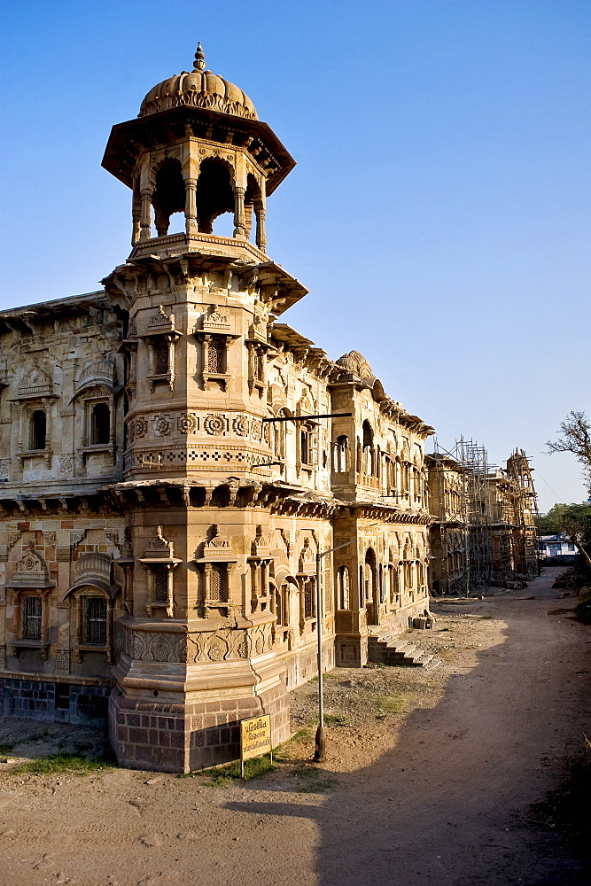 Morvi Temple (the Secretariat) an administrative building with a Hindu temple in the centre, built in the 19th century and being restored following the 1997 earthquake, Morvi, Gujarat, India, Asia