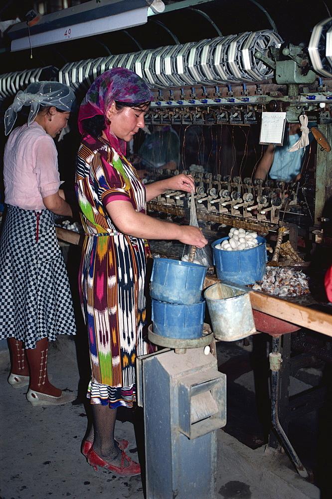 Unnreeling silk cocoons, Hotan, Xinjiang, China, Asia