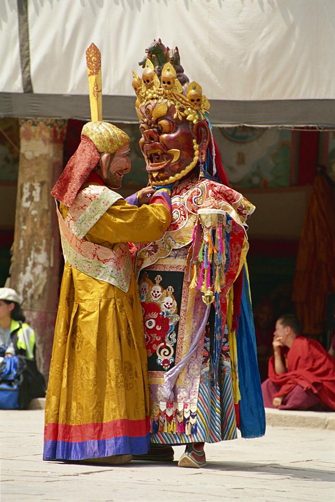Lama dancing, Kumbum Monastery, Qinghai, China, Asia - 188-5706