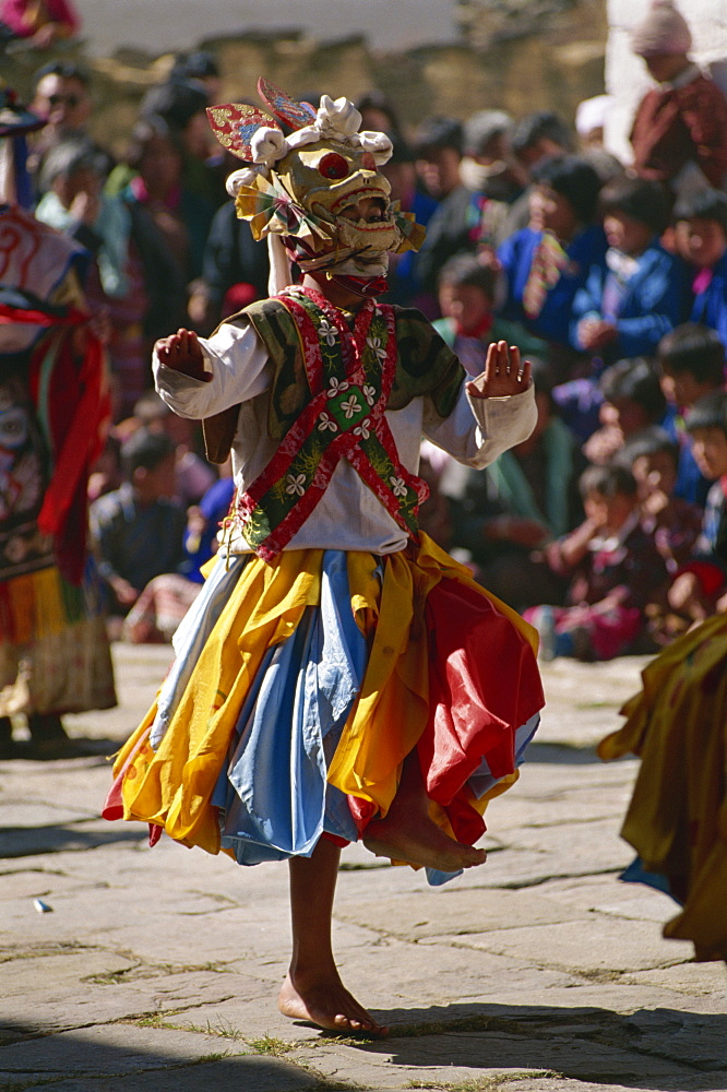 Festival dancers, Bumthang, Bhutan, Asia - 188-5988
