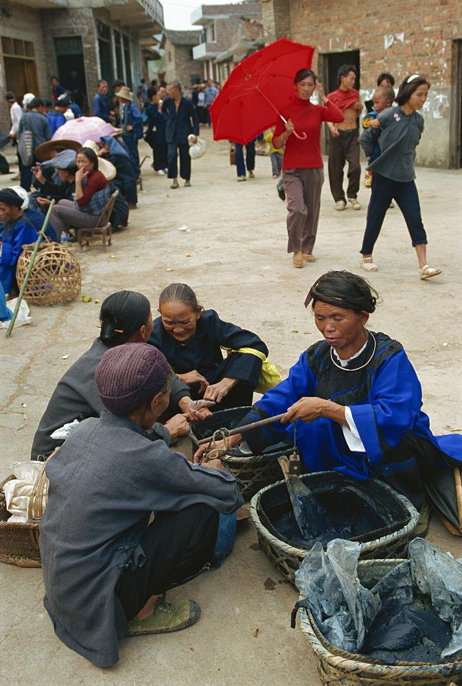 Indigo for sale in the market near Sandu, Guizhou, China, Asia - 188-6081