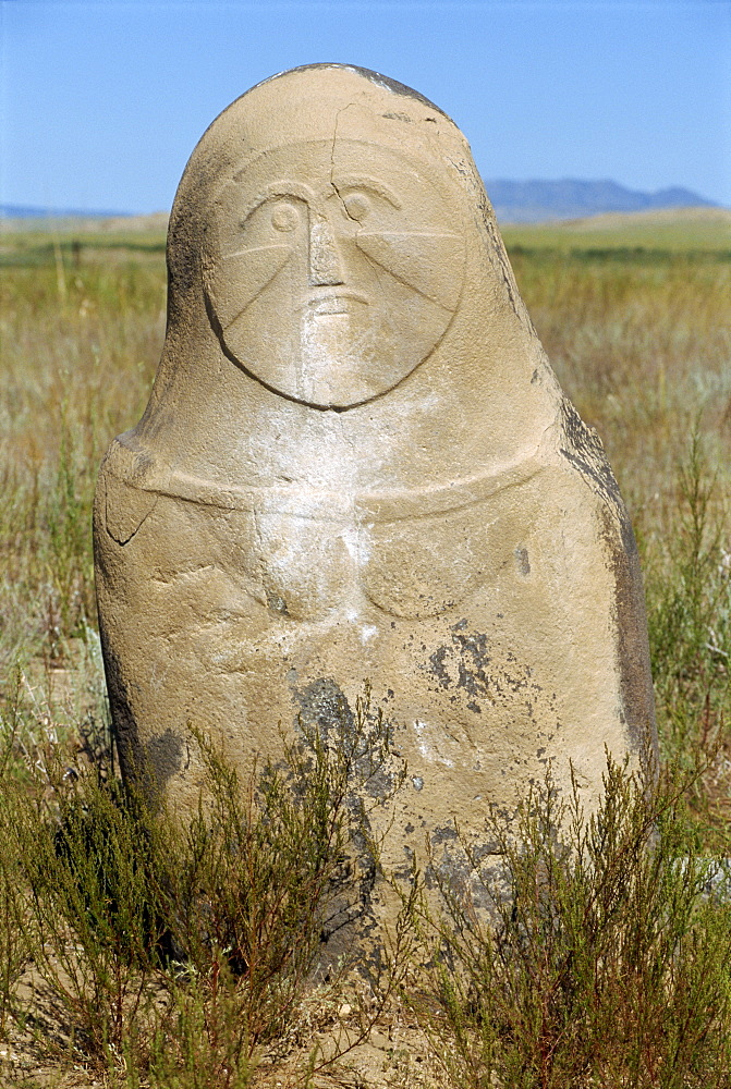 Carved figure at the Kayinarl Tombs, Turkic from 2nd century BC to 7th century AD, in the Altay mountains, Xinjiang, China, Asia