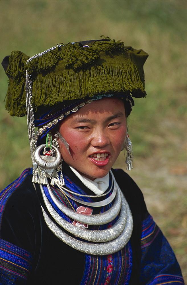 Black Miao girl, southern Guizhou, Guizhou, China, Asia - 188-6712