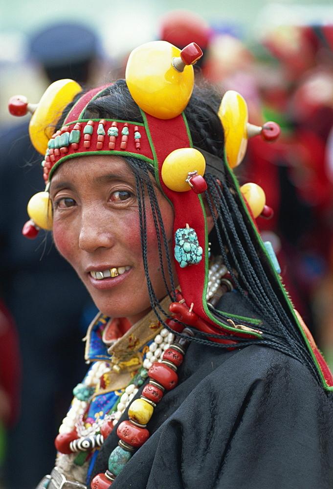 Typical nomadic jewellery, Yushu, Qinghai, China, Asia