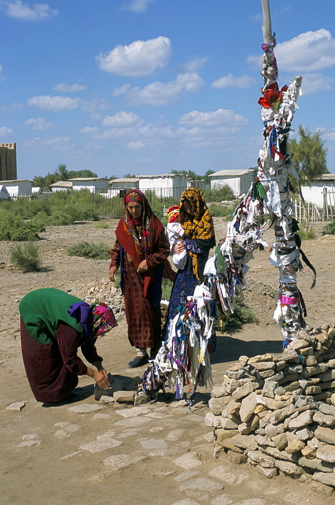 Ribbons tied for children, money or personal object offered, Kunya Urgench, Turkmenistan, Central Asia, Asia